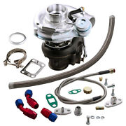Oil Feed+turbo Charger+drain Line T04e T3/t4 A/r.63 Boost Kit Turbine A/r 0.5