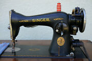 Vintage Singer Model 15-91 Sewing Machine With Cabinet And Manual