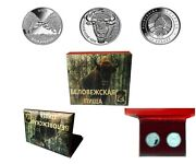 Belarus 2012, European Bison And Bisons 2 Coin Set, 20 Rubles, Silver, Box