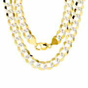 14k Yellow Gold Solid Mens 11.5mm Diamond Cut Pave Cuban Curb Chain Necklace 22