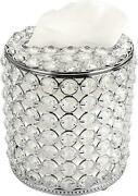 Sumnacon Cylindrical Clear Glass Tissue Box Cover - Decorative Crystal Toliet