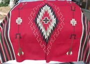 Large Vintage Handwoven Mexican Wool Rug In Red Green Beige Grey 76 X 50