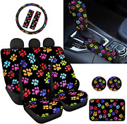 Renewold Dog Paw Print Auto Front Rear Seat Covers, Steering Wheel Cover, Seat