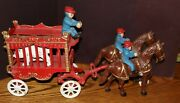 Overland Circus Cast Iron Wagon With Bear - Horses And Riders