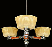 Bauhaus French Art Deco Opaline Amber Glass Shades Chrome And Wood Chandelier 1930