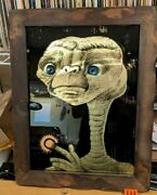E.t. The Extraterrestial Framed Foil Backed Picture Scarce 1980's 14 3/4x18 3/4