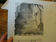 Charles E. Pont Original Art From 1939 Circus Boat Book Jumping Off Boat Tired