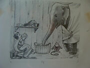 Charles E. Pont Original Art From 1939 Circus Boat Book Elephant Drinking Led