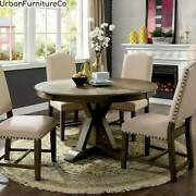 Farmhouse Rustic Oak 54-inch Solid Wood Dining Table Kitchen Home Furniture New