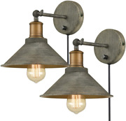Vintage Swing Arm Wall Sconces Hardwired Or Plug-in Bedroom Bath Wall Lamps Set
