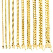 10k Yellow Gold Solid 2.7mm-10mm Miami Cuban Link Chain Pendant Necklace 18-30