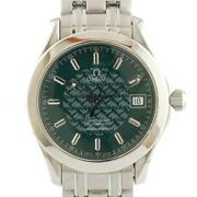 Omega Seamaster Jacques Mayol Stainless Steel Silver Green Men's Watch [u0830]