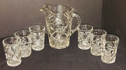 Vintage Pressed Glass Pitcher And 6 Tumbler/glasses Set 1960's-gorgeous Design