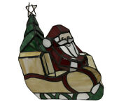 Stained Glass Santa Claus In Sled Style Lamp Night Light 10 Tall