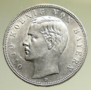 1908 Germany Bavaria Ruled By Otto I W Eagle Antique Silver 5 Marks Coin I95235