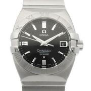 Omega Constellation Double Eagle Stainless Steel Silver Black Menand039s Watch[u0831]
