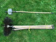 Vintage Bamboo And Brass Chimney And Drain Brushes And 11 Pole Set
