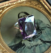 Vintage Art Deco Sterling Silver Amethyst Glass Cocktail Ring Claw Set
