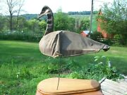 Vintage Gray Goose Decoy Canvas Over Steel Frame Retired Mounted On Wood Display