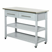 Homcom Kitchen Cart Rolling Trolley Shelves Drawers Cabinet Stainless Steel Top