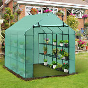 Outsunny 8'x6'x7' Portable Greenhouse Gardening Green House Shelves Plant