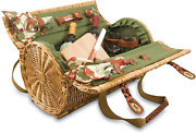 Picnic Time Verona Insulated Wine Basket With Wine/cheese Service For Two, Pine