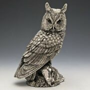 130 Mm Country Artist Silver Filled Engraving Owl Ornament 1997 Vintage Used