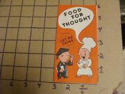 Vintage Brochure Food For Thought Let Me Think -- Friends Baked Beans Melrose Ma