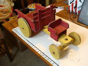 Vintage Wooden Toy Large Wooden Horse Drawn Dumping Wagon No Horses