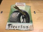 Vintage Original -- Hand Painted Firestone Gum Dipped Store Sign - Extra Mileage