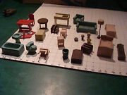 Vintage Toy Lot Of Vintage Wooden Furniture Doll House, Circa 1940's