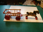 Vintage Wooden Geveco Pull Toy, Horse And Cart, 2 Feet Long, Cool