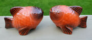Vintage Poppytrail Pottery Metlox Red Fish Salt And Pepper Shakers California