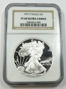 1997-p Ngc Pf69 Ultra Cameo Proof Silver American Eagle Dollar 1 Us Coin 28853a