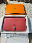 Authentic Hermes Dogon Duo Wallet In Rose Azalee Sold Out Color