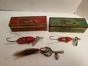 3 Al Foss Antique/vintage Fishing Lures 2 With Metal Boxes See Pictures And...