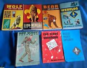 7 Boy Cub Scout Webelos Manual Book Wolf Bear Lion Song Parents Songbook Vintage