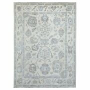 9and039x11and0398 Ivory Angora Oushak Pure Wool Hand Knotted Oriental Rug G69084