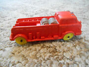Old Vintage Toy Auburn 514 Rubber Fire Department Truck Red Yellow 1 Underneath