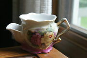 Old Vintage Or Antique Shaving Mug Cup Coal Scuttle Handpainted Germany Flowers