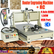 Usb 4 Axis Cnc 6090 Router Engraving Machine Wood Carving Metal Cutter 1.5kw +rc