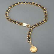Vintage Coco Mark Chain Belt W80 Gold Leather Black Coin Plate Very Rare