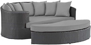 Modway Sojourn Wicker Rattan Outdoor Patio Sunbrella Fabric Daybed In Canvas Gra