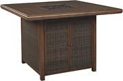 Signature Design By Ashley Paradise Trail Square Bar Table With Fire Pit, Medium
