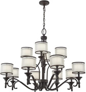 Lacey 32 12 Light 3 Tier Chandelier With Satin Etched Cased Opal Inner Diffuser