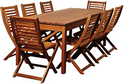 Amazonia Delaware 9-piece Outdoor Dining Table Set Eucalyptus Wood Ideal For Pat