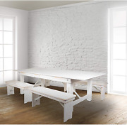 Flash Furniture Hercules Series 8and039 X 40 Antique Rustic White Folding Farm Table