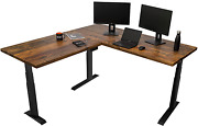 Stand Up Desk Store Reclaimed Wood Electric L-shaped Corner Standing Desk With E