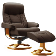 Fjords Muldal Large Leather Recliner Chair With Ottoman In Havana Dark Brown Nl