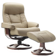 Fjords Muldal Small Leather Ergonomic Recliner Chair With Ottoman In Sandel Nl 1